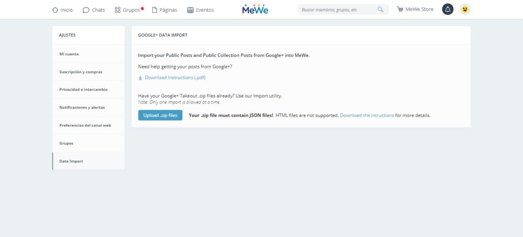 importar datos a MeWe desde Google+