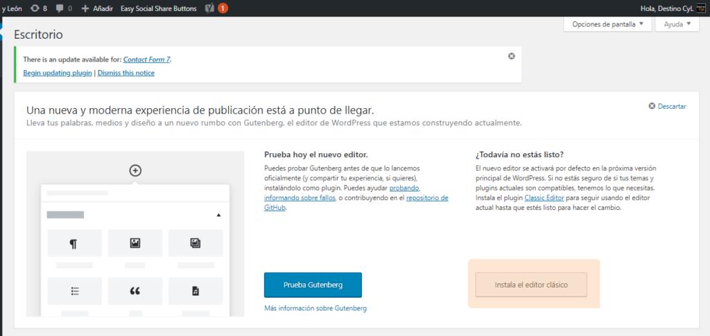 instalar el editor clásico de WordPress