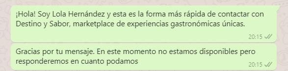 mensaje automático de WhatsApp
