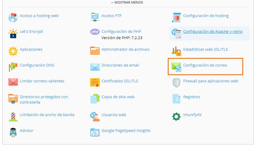 panel plesk - Configuración de correo electrónico
