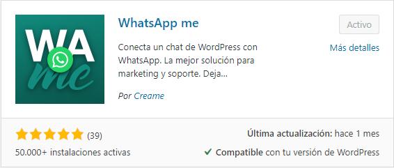 whatsApp Me plugin para woocommerce